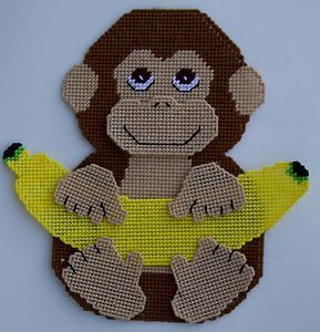 Monkey and Banana Wall Hangings Plastic Canvas Pattern | eBay