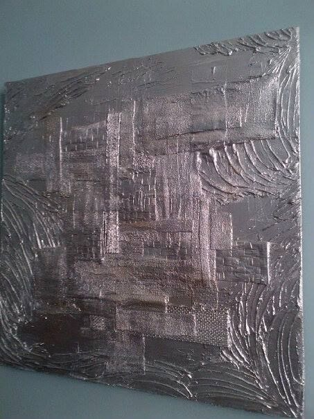 Mixed media art with silver metallic