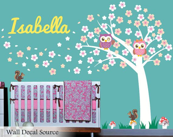 Nursery Wall Decal  Cherry Blossom Tree  Owl by WallDecalSource, $119.00