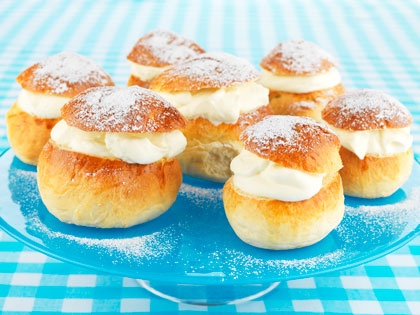 Once a year the Swedes have Semlor - Special cardemon buns filled with whipped cream and almond paste.