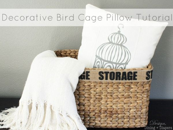 Decorative Bird Cage Pillow Tutorial from designdininganddiapers.com #sewing #pillow #vintage: Birds Cages, Pillows Tutorials, Bird Cages, Sewing Pillows, Decor Birdcages, Birdcages Pillows Ne, Diy Pillows, Crafts, Diy Birdcages