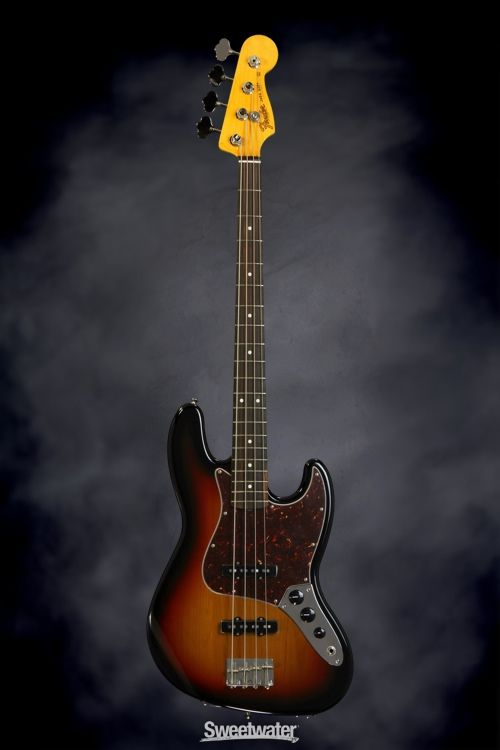 Fender Classic Series '60s Jazz Bass Lacquer - 3-Color Sunburst | Sweetwater.com. 4-string Electric Bass Guitar with Alder body, Maple Neck, Rosewood Fretboard, Alnico Single-coil Pickups, Vintage-style Bridge, and Hard Case - 3-color Sunburst