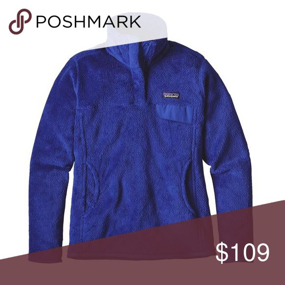 Patagonia Women's Re-Tool Snap-T Fleece Pullover Patagonia Women's Re-Tool Snap-T Fleece Pullover in Harvest Moon Blue X-Dye color. Deep-pile 100% polyester fleece (51% recycled) has extra-long fibers to retain warmth. Stand-up collar has doubled fleece for warmth; front placket hides the 4-snap closure and is reinforced with nylon. Yoke and princess seams add contouring and shape. Brushed-polyester microfleece trim on cuffs and hem. Nylon chest-pocket flap with stay-put envelope…