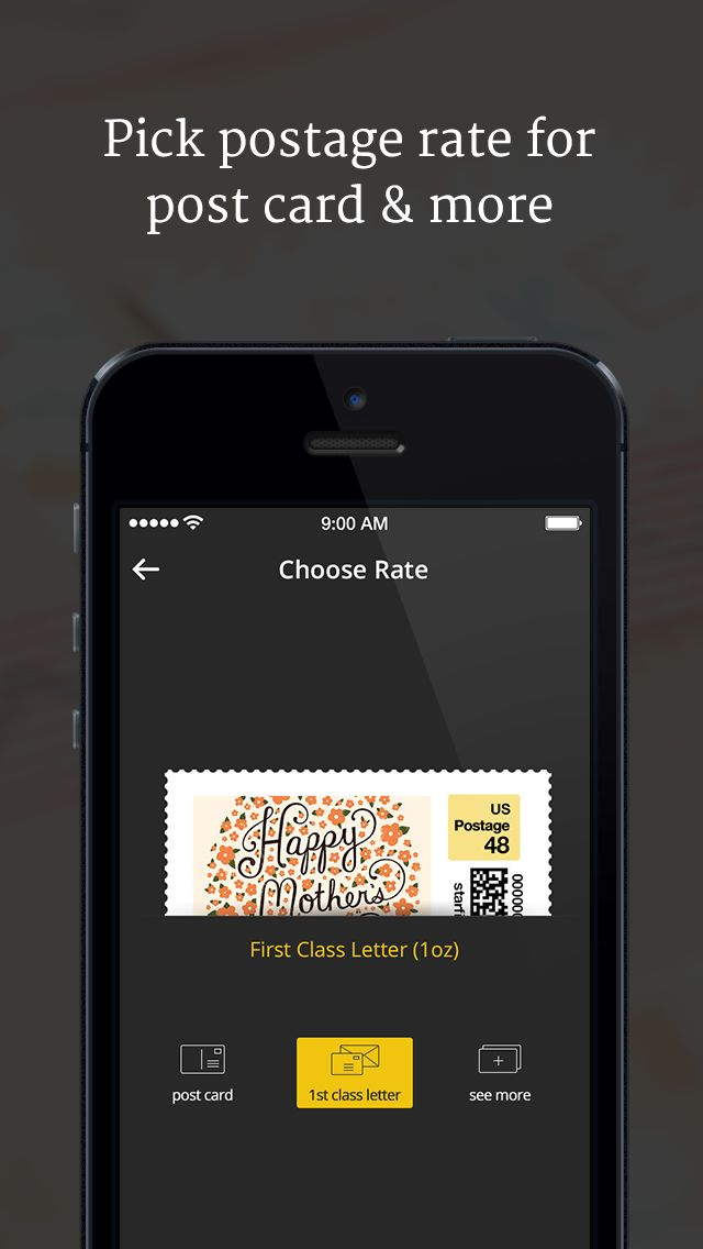 Pick postage rate for post card, letters, and more.  [custom postage stamp @ 20Stamps]