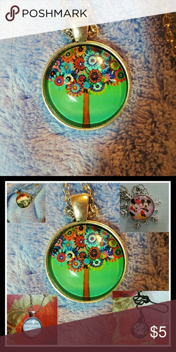 Tree of Life on green background. Stylized Tree of Life on green background. Second image shows other glass dome pendants for sale. Chain included. NWOT unbranded  Jewelry Necklaces
