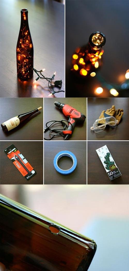 : Idea, Diy Wine, Diy'S, Bottle Lights, Wine Bottles, Diy Projects