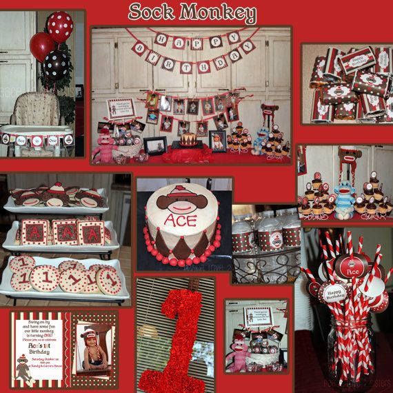 DIY Sock Monkey photo 2 Birthday Printable Party Invitation red brown monkey. $10.00, via Etsy.