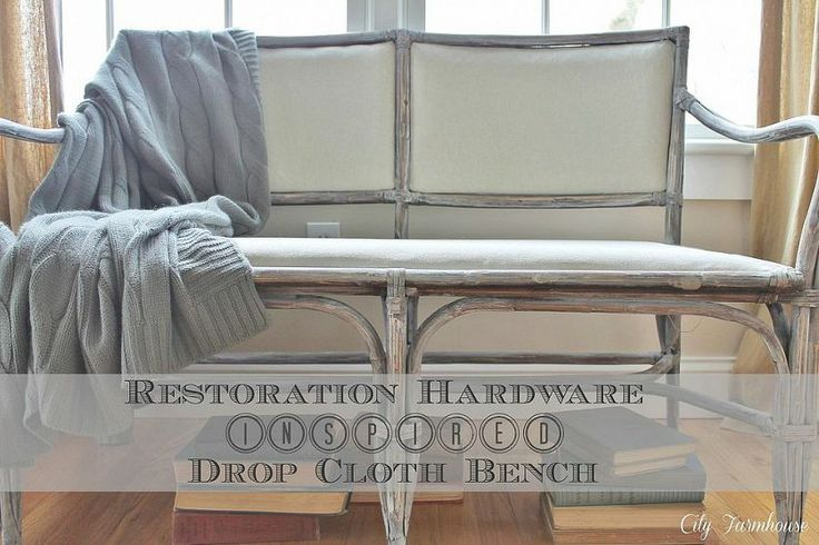RH drop cloth bench knock off: Paintings Techniques, Restoration Hardware, Benches, Furniture Makeovers, Wicker Furniture, Cities Farmhouse, Decor Blog, Grey Paintings, Drop Clothing