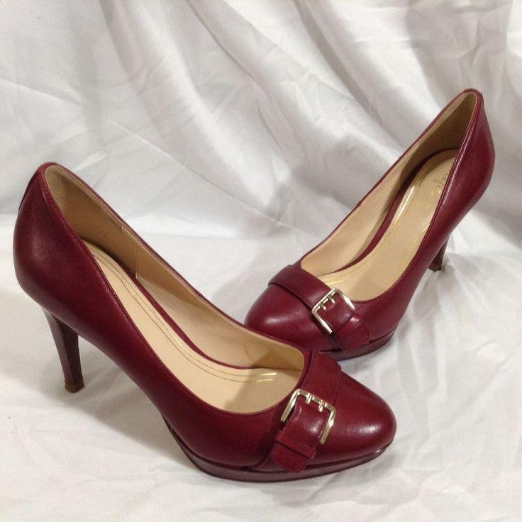 Cole Haan 8 B Burgundy Leather Platform Stiletto Heel Pump Shoe Gold Buckle #ColeHaan #PumpsClassics