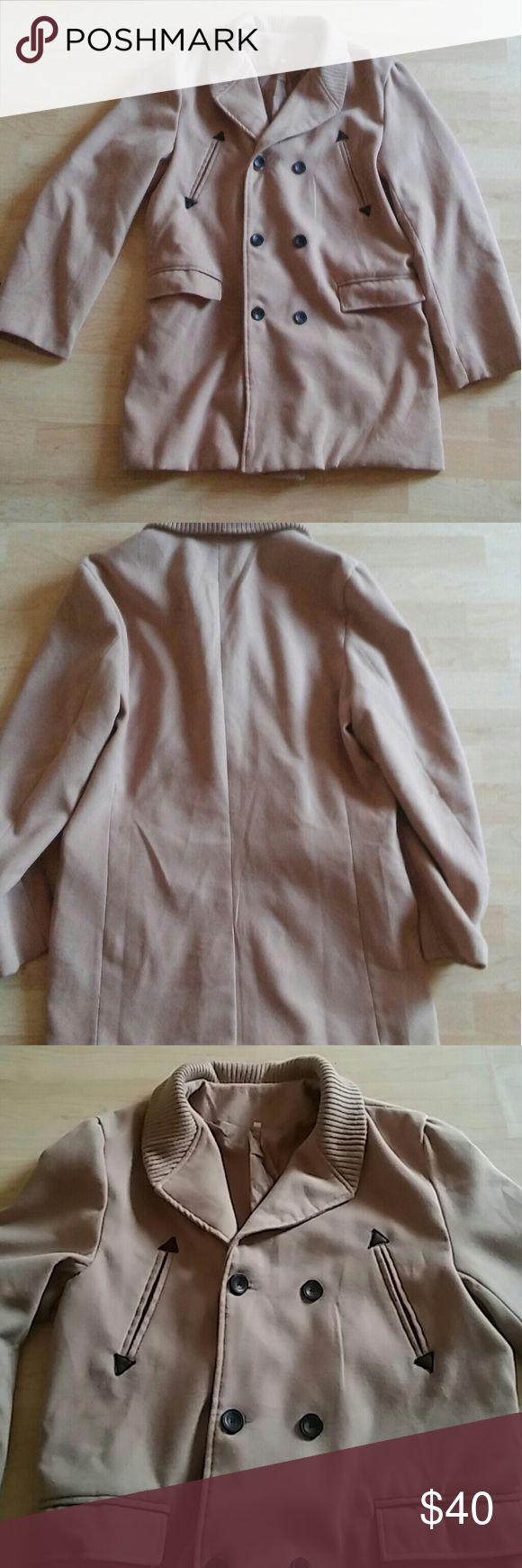 Men's Wool Blend Peacoat Unbranded XXL Tan. XXL. Great condition. No damage. Lightweight Jackets & Coats Pea Coats