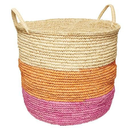 Rattan Basket in Flamingo Pink