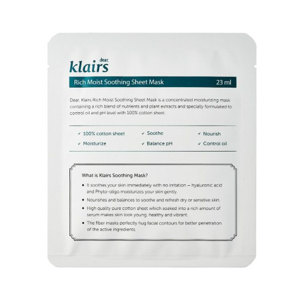 Klairs Rich Moist Soothing Sheet Mask: the best treatment for red, irritated, sensitive skin; totally non-irritating, leaves skin feeling cool, soft, and plumped; unbeatable price; $2 @ sokoglam.com