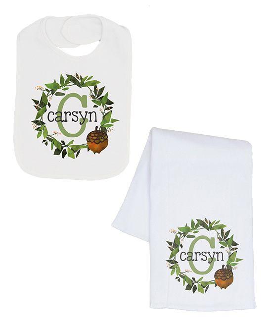 White Acorn Wreath Personalized Bib & Burp Cloth