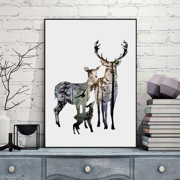 Silhouette di Famiglia Dei Cervi con Pino Foresta Tela Arte Stampa Poster Pittura, Immagine della parete per La Decorazione Domestica, Home Decor FA396
