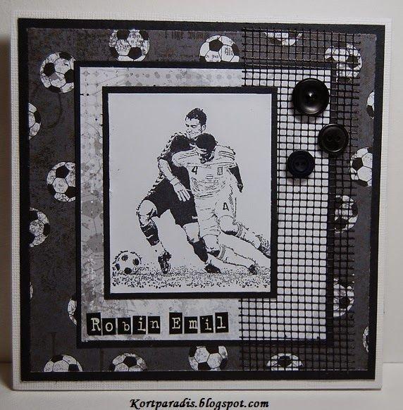 Confirmation Boy Konfirmasjon Gutt Scrapping Håndlaget Handmade  Fotball Fotballkort Papirdesign
