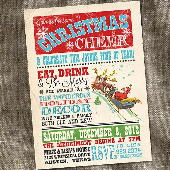 Vintage Christmas Cheer Holiday Christmas PRINTABLE Party Invitation