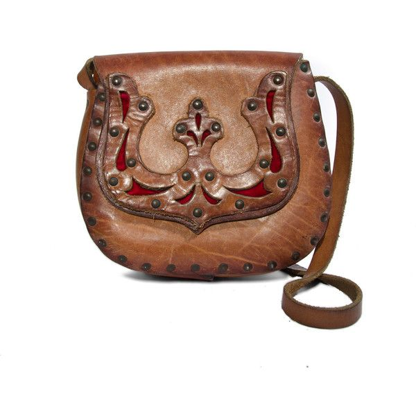 70s Women's Brown Leather Bag Studded Hippie by RabbitHouseVintage ($68) ❤ liked on Polyvore