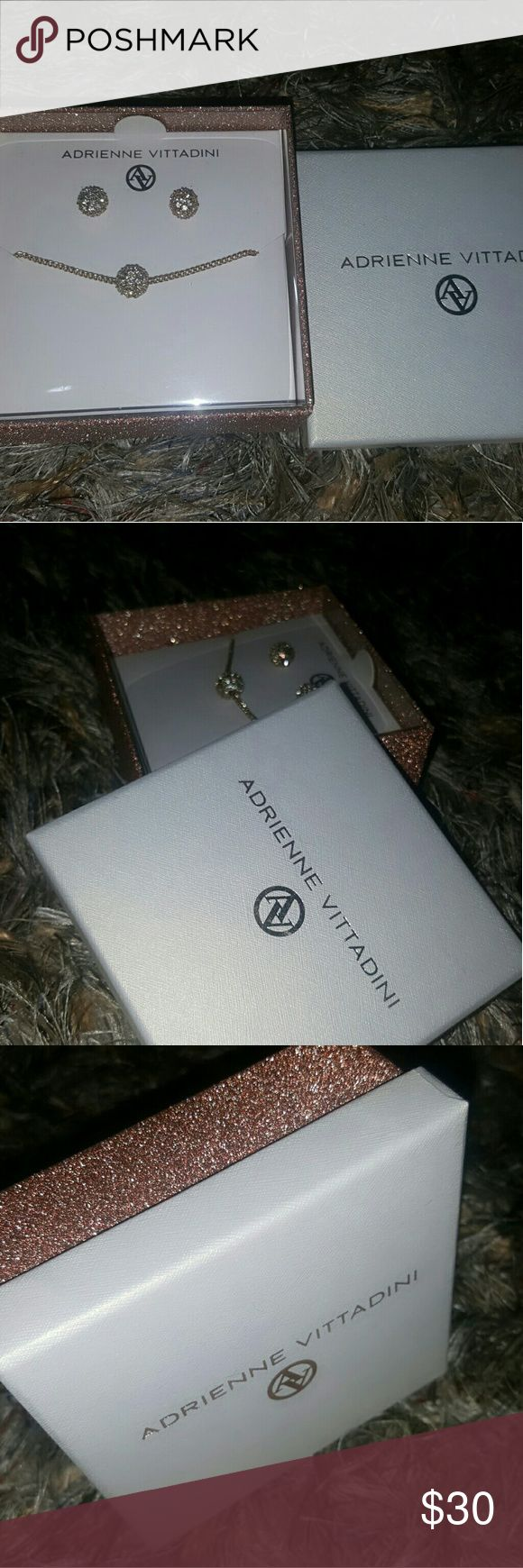 Adrienne Vittadini Necklace And Earrings set Brand new Adrienne Vittadini Necklace And Earrings set, unused, undamaged and in its original retail package. Please see pictures for details ?????? Adrienne Vittadini Jewelry