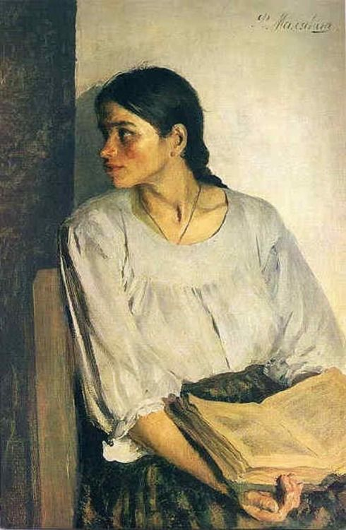 Girl with a Book - Philip Maliavin.(1869-1940). Russian