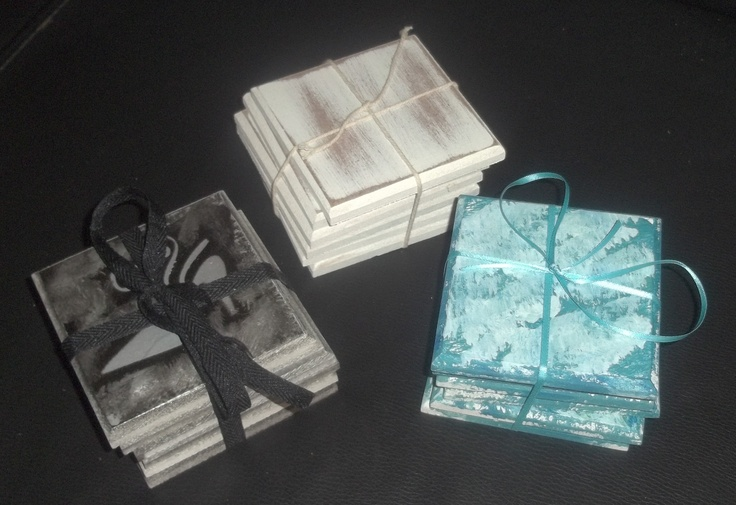White washed and decorative coasters.(waterproofed).  Price: 6 for R80 (ZAR)