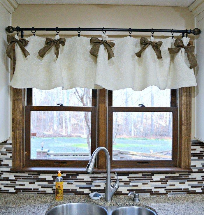 easy affordable diy kitchen window valances