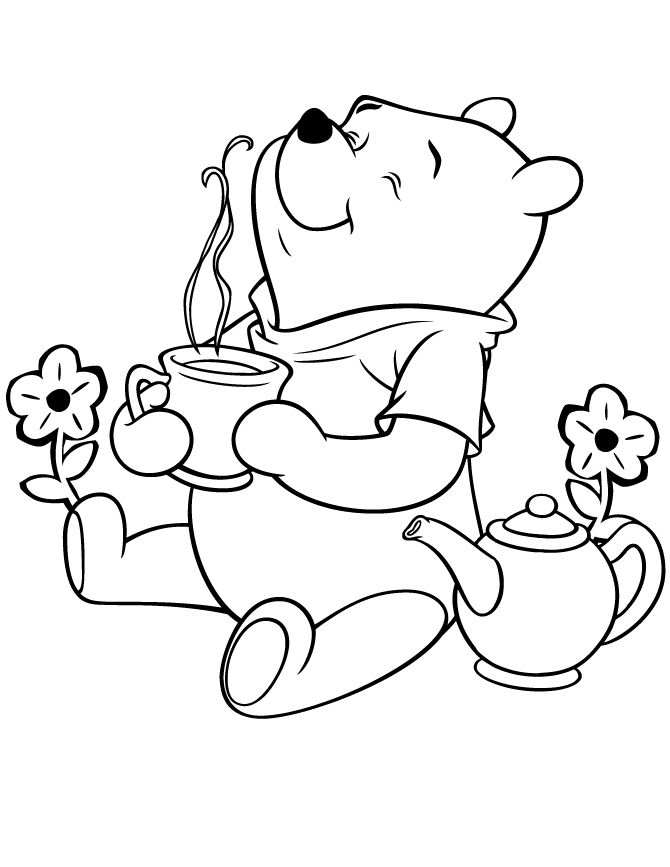 bear coloring pages | Winnie The Pooh Bear Having Tea Coloring Page ...