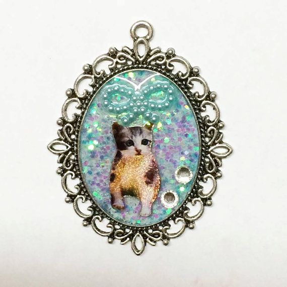 Chic and Cute Pastel Blue Metal Frame Cameo Cat by SocietyInCrisis