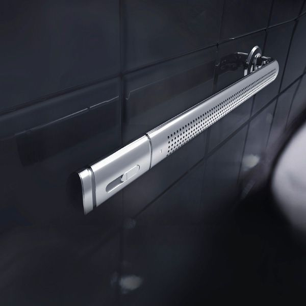 Breeze Rack – an appropriate towel rack, hair dryer, bathroom ventilator and sterilizer! The device can be used to ventilate the room by circulating air, as a towel rail and can even dry and sanitize towels. The hair dryer detaches from one end of the rack.