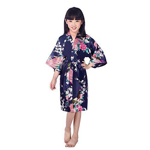 Honeystore Girls  Satin Silk Kimono Robe Peacock Children Spa Bathrobe  Nightgown df1a21d09
