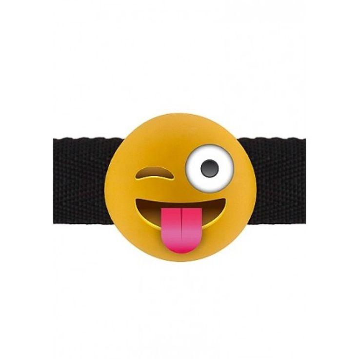 Gag med Emoji! Utrykk dine følelser med disse Emoji gagene.  Gagen kan justeres.  Spesifikasjoner Diameter gag: 4 cm Materiale: PVC og polyester Vanntett: ja Phatalate fri : Ja