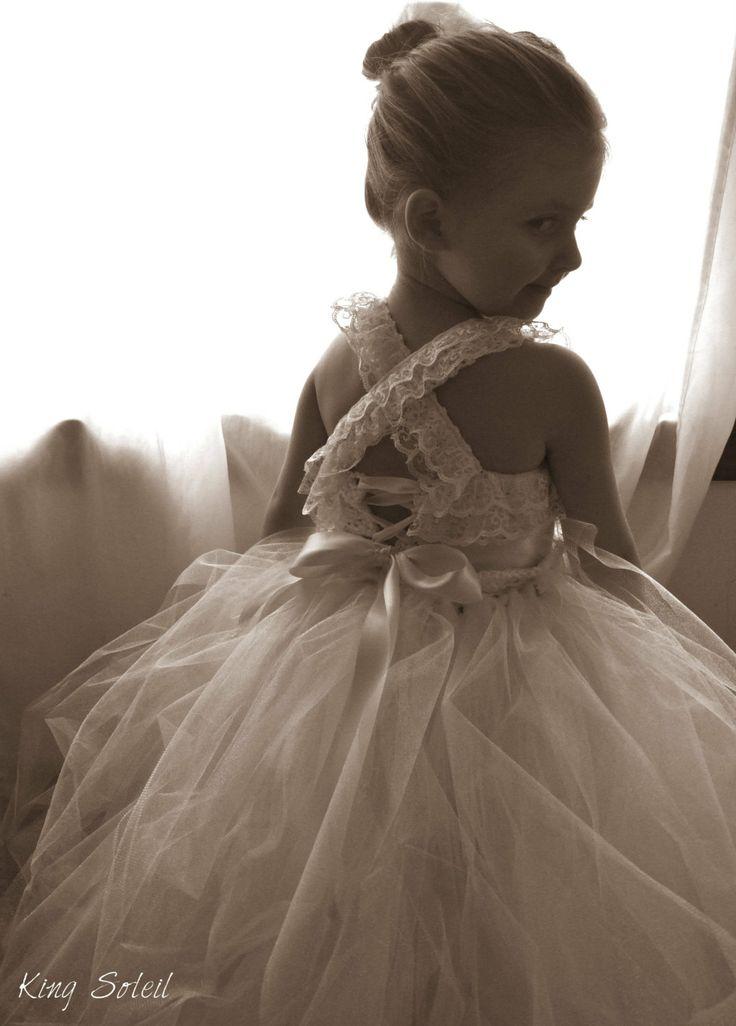 Flower Girl Dress Lace and Tulle Tutu Crochet Bodice Satin Sash Vintage Ivory Infant to Toddler Size 4. $198.00, via Etsy.