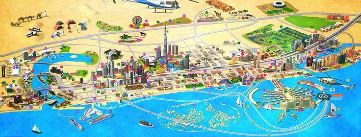 Dubai tourist attractions map design.