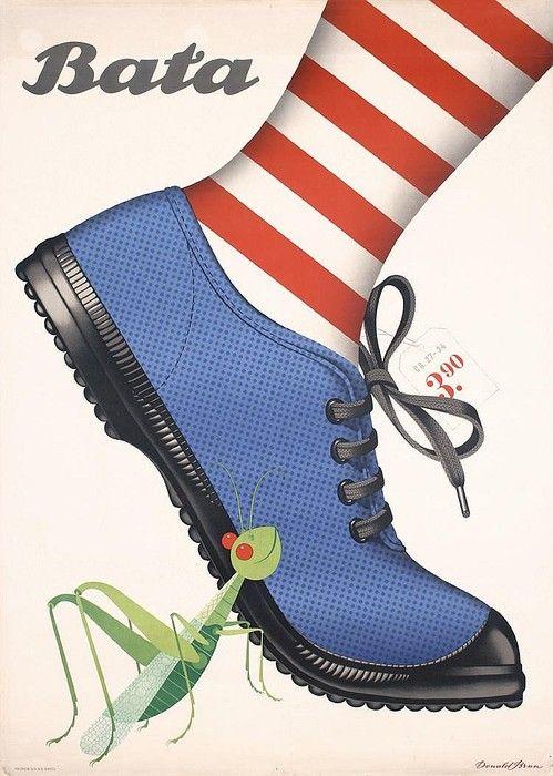 Fantástico cartel del prolífico ilustrador suizo Donald Brun. Zapatos Bata, 1946 #vintage #poster #design