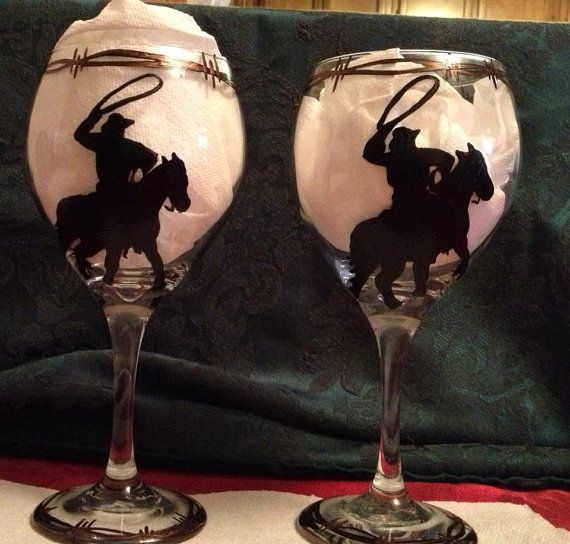 Hand Painted Western Wine Glasses by CowgirlupDesign on Etsy, $30.00