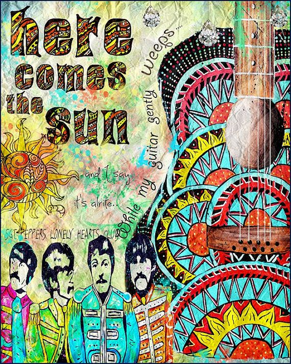 Beatles poster art,retro beatles art, music,beatles music,here comes the sun,sgt peppers,yellow submarine,sixities,retro art,guitar art on Etsy, $18.00