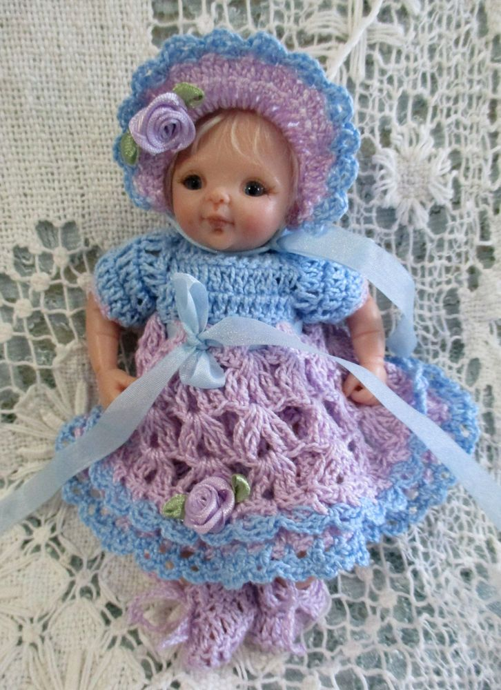 DOLL CLOTHES PRETTY CROCHET DOLL OUTFIT WHITE 6 - 6 1/2  CLAY SCULPT REBORN OOAK