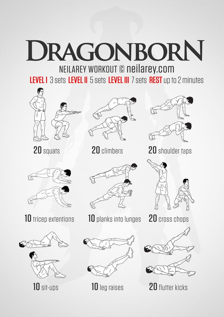 """Fus Ro Dah! A strength workout for every adventurer out there who has managed to dodge the arrow - """"You are the chosen one."""" (Do not let it go to your head). Skyrim inspired workout. Instructions: Repeat each move with no rest in between until the..."""