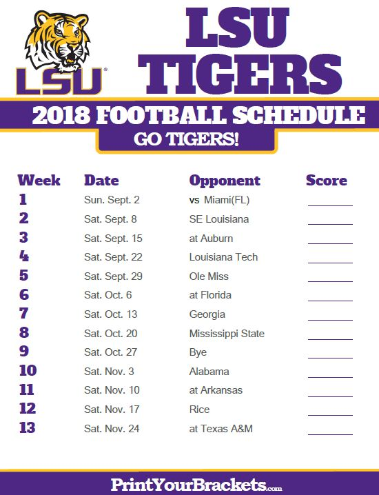 2018 Printable LSU Tigers Football Schedule
