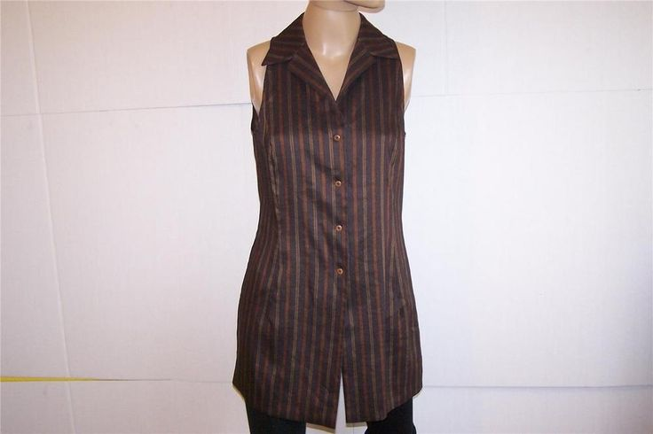 ADRIENNE VITTADINI Tunic Top Vest Sz 10 Sleeveless Striped Linen Blend Stretch #AdrienneVittadini #Tunic #Casual