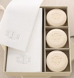 An Oprah Favorite! This Signature Spa Gift Set includes 3 round bars of soap and 12 linen like guest towels. #themonogrammerchant