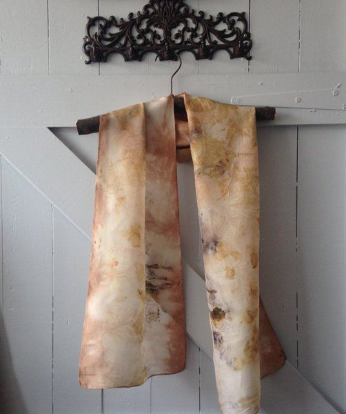 Eco dyed silk scarves by Rita Summers