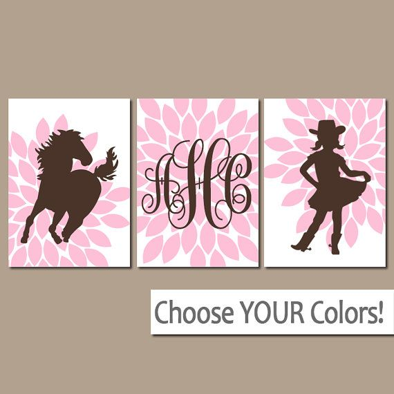 COWGIRL Wall Art, Girl HORSE Bedroom Pictures, Baby Girl Nursery Artwork, CANVAS…