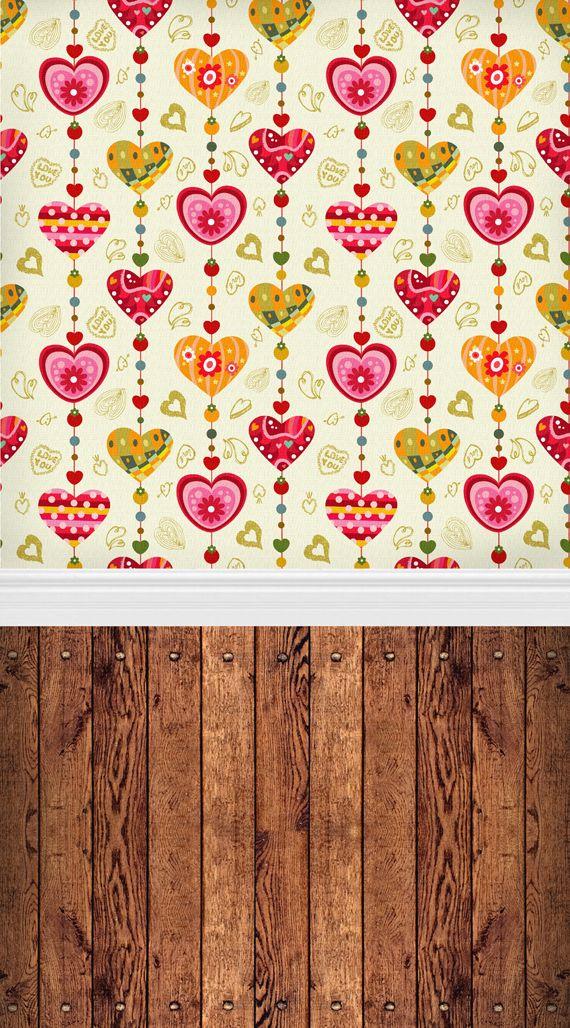 HUAYI 5X7ft Фотография Фон фотографии фоном в форме сердца узор обои с деревянной фон этаж D-106