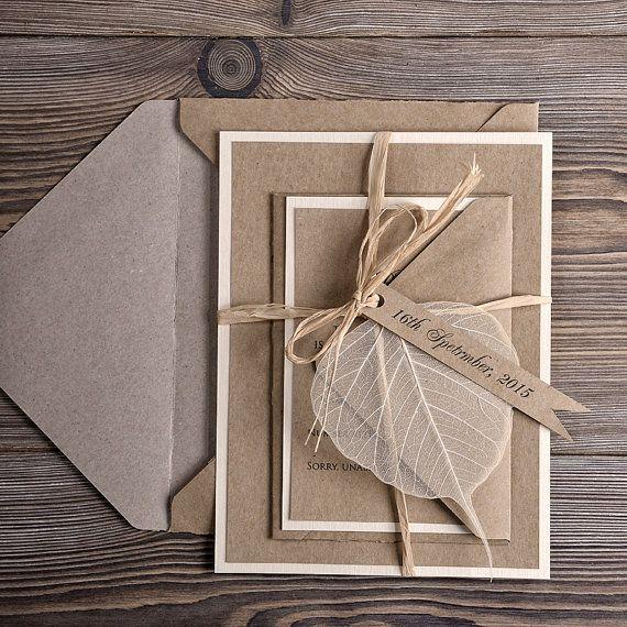 Eco Wedding Invitations, Recycling Paper Wedding Invitation, County Style Wedding  Invitation, Rustic Wedding