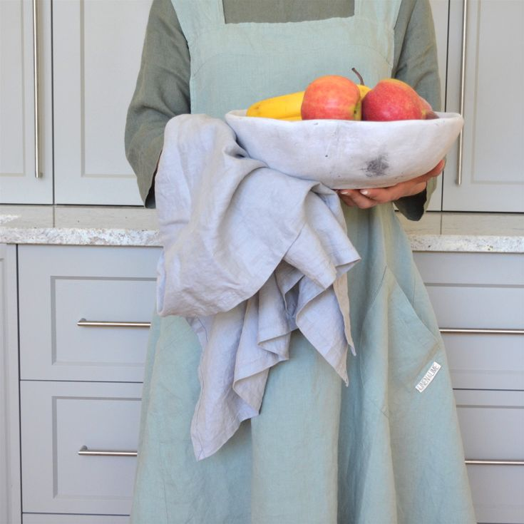 Adult 100% stonewashed French linen apron in Aqua colour