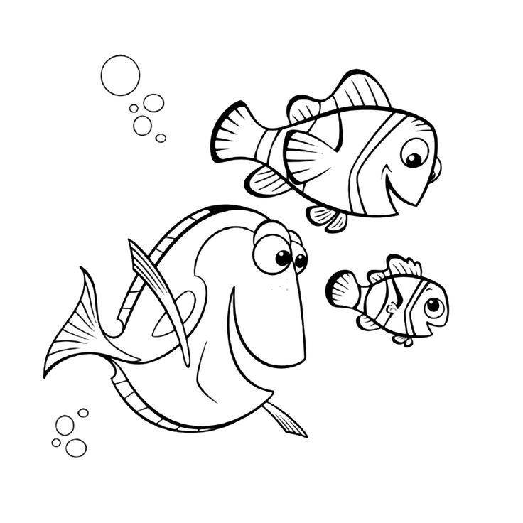Leuk voor kids kleurplaat ~ Marlin, Dory en Nemo