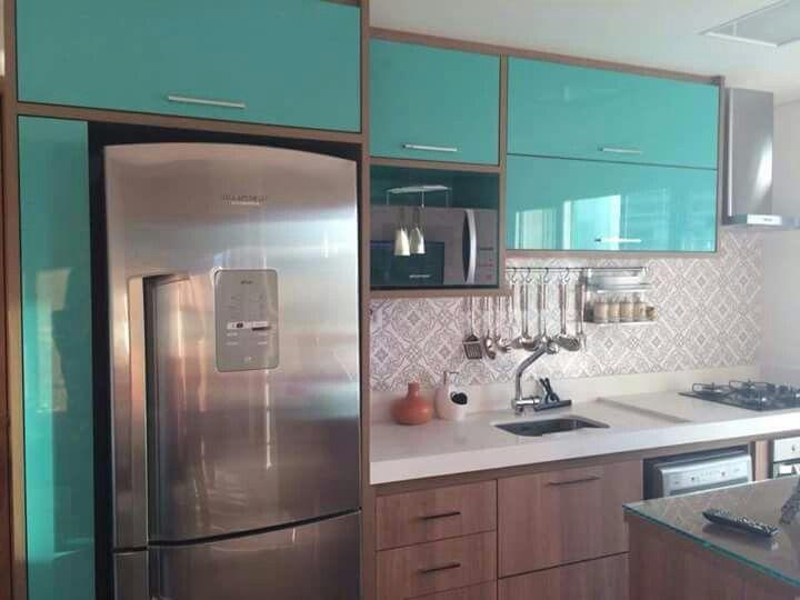 cozinha azul turquesa e preto  Pesquisa Google  colorindo a cozinha  Pinte # Cozinha Planejada Na Cor Azul Turquesa