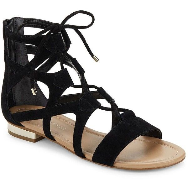Saks Fifth Avenue Danos Leather Gladiator Sandals ($60) ❤ liked on Polyvore featuring shoes, sandals, block heel gladiator sandals, black gladiator sandals, roman sandals, cognac leather sandals and open toe sandals