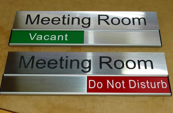 Door signs made to order. Examples is 90 x 300 mm with slider panel. Check range of sizes and formats. Enter names and room status wordings with your order