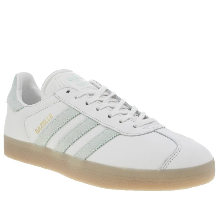 womens adidas white & mint green  gazelle leather trainers